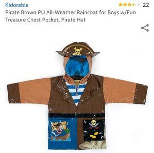 Kidorable Pirate brown rain jacket boy size 4/5